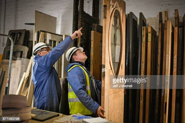 Specialist carpenters from JCG working on the Mackintosh Building discover Mackintosh inspired leaves carved into one of the doors on November 22...
