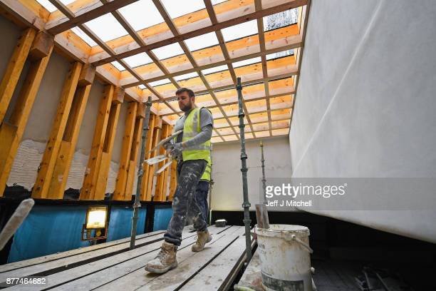 Specialist craftsmen reinstate traditional lath and plaster in the main studios on the first floor of the Mackintosh Building on November 22 2017 in...