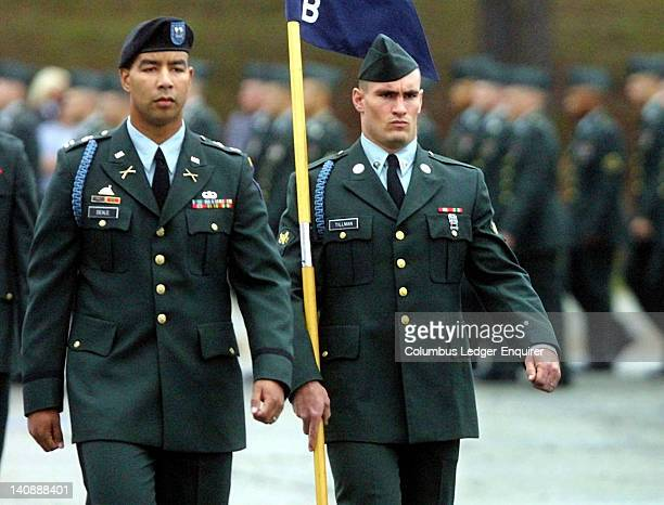 Specialist Pat Tillman right a former Arizona Cardinal walks next to Captain Christoper Deale company commander of B Company 1st BN 19th Infantry...