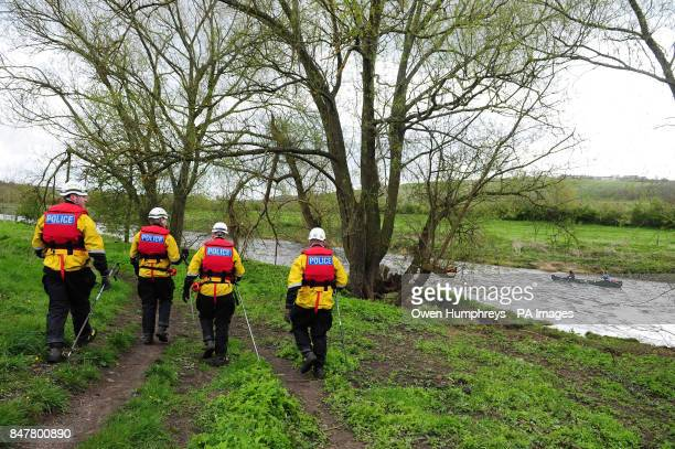 A specialist police search team search the River Wear near Willington in County Durham after an eightyearold boy who fell into the swollen river...