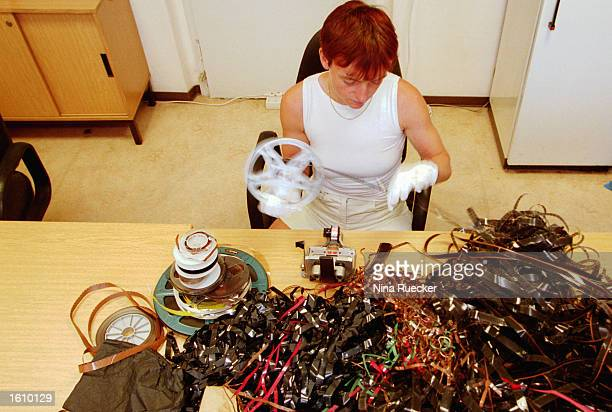 Specialist Silvia Kegel coordinates film and sound material August 21 2001 at the facility where the former East German intelligence agency''s files...