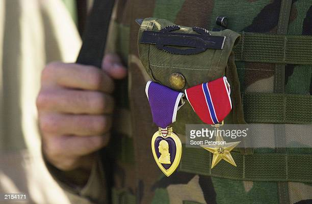 Specialist Willie Harris an infantryman of the Florida National Guard is decorated with a Purple Heart and Bronze Star medal for valor as his unit...