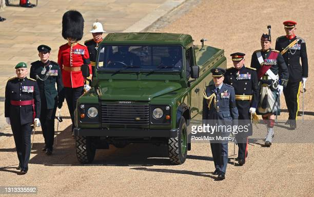 Specially designer Land Rover Defender hearse arrives in the Quadrangle of Windsor Castle ahead of Prince Philip, Duke of Edinburgh's funeral at St....