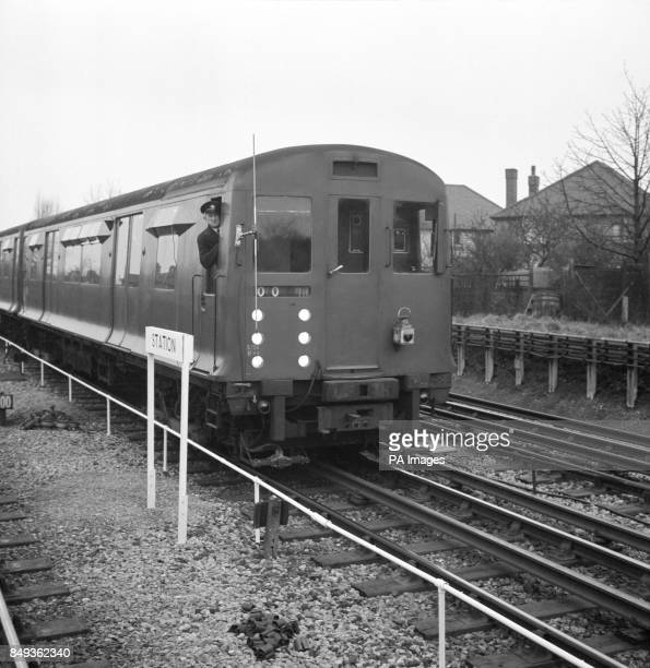 A speciallyequipped District Line train on the move at South Ealing London which is being used by London Transport in trials to decide the...