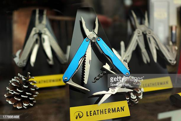 A specialty knife sits on display in the window of a Manhattan hardware store on August 26 2013 in New York City A report on Monday showed that sales...