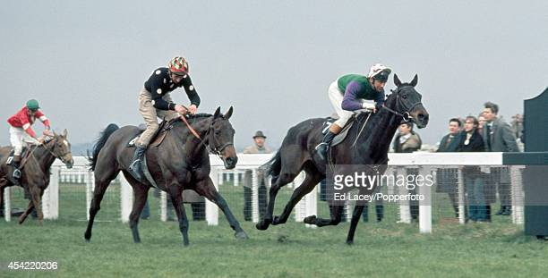 Specify ridden by John Cook wins the Grand National from Black Secret ridden by Jim Dreaper and Astbury ridden by Jimmy Bourke at Aintree on 3rd...