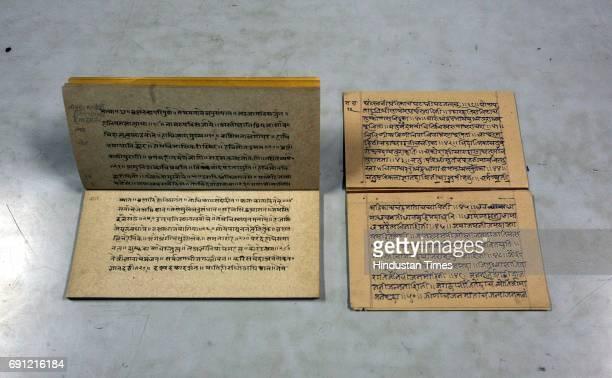Specimen of Sanskrit handwritten manuscripts Atha Shri Agamsar Gurubhakti Varnan Nam and Shri Mahalasa Kavacham held by Ruia College Library amongst...