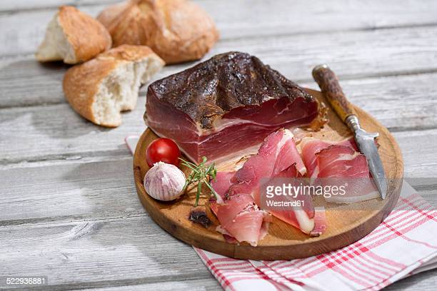 speck alto adige with italian white bread - dish towel stock pictures, royalty-free photos & images