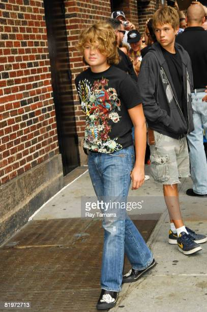 Speck and Hud Mellencamp sons of musician and actor John Mellencamp visit the Late Show with David Letterman at the Ed Sullivan Theater July 17 2008...
