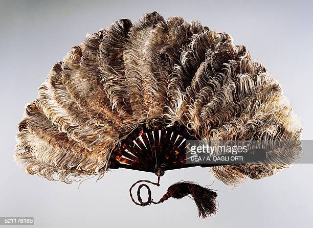 Speckled ostrich feather hand fan tortoise shell ribs silk ribbon 18901900 France 19th century Gorizia Fondazione Palazzo Coronini Cronberg France