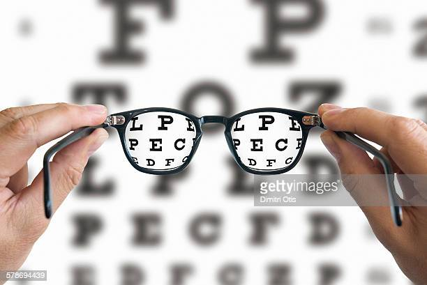 Spectacles focussed on eye test chart