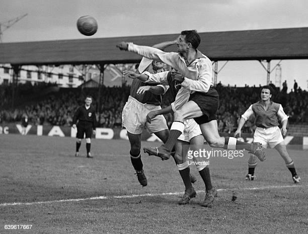Spectacular action of Troyes' goalkeeper Antonio Abenoza during a French championship match against Red Star