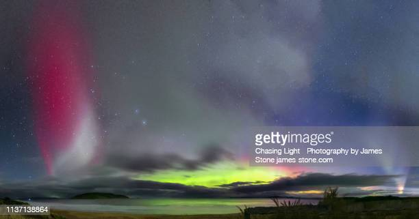 spectacular aurora display, steve and proton arc - aurora australis stock pictures, royalty-free photos & images