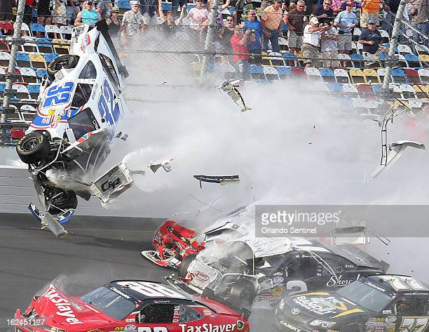 A spectacular crash involving the car of Kyle Larson happens on the last lap of the DRIVE4COPD 300 Nationwide Series race at Daytona International...