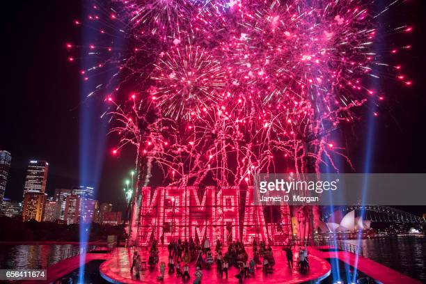 Spectacular fireworks over the stage of Carmen on the harbour during a media preview of Handa Opera's production of Carmen at Sydney Harbour on March...
