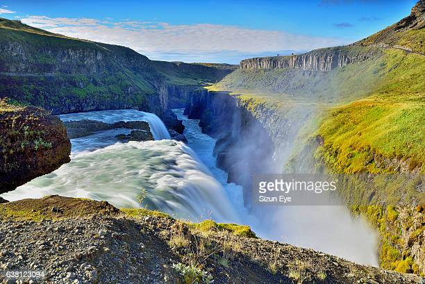 spectacular gullfoss waterfall in southwest iceland. - gullfoss falls stock photos and pictures