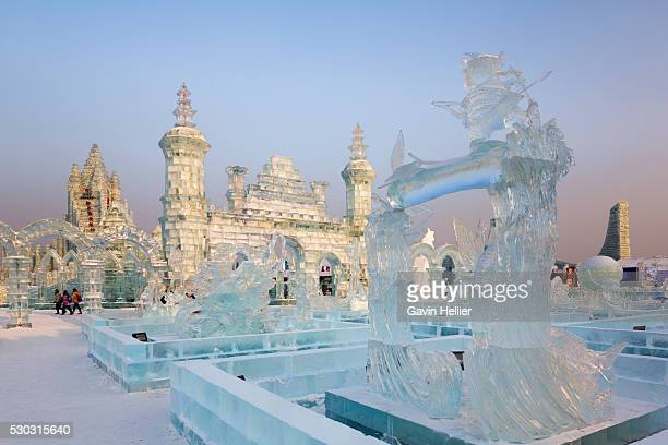 spectacular ice sculptures at the harbin ice and snow festival in harbin, heilongjiang province, china, asia - harbin stock pictures, royalty-free photos & images