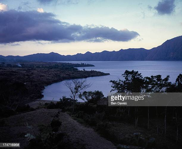 Spectacular Lake Batur viewed from the crater rim at Penelokan on the Indonesian island of Bali This spot is popular with tourists who also come here...