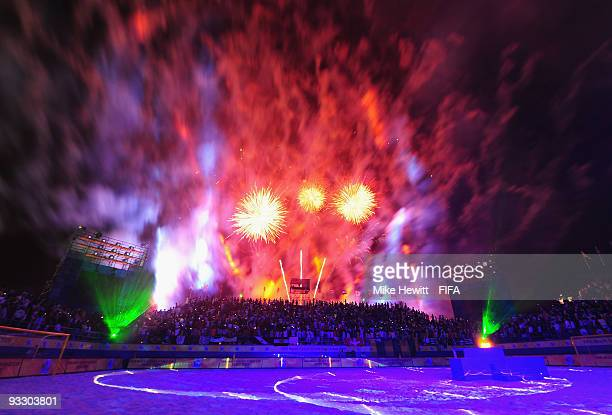 A spectacular lazer and fireworks display ends the FIFA Beach Soccer World Cup Final between Brazil and Switzerland at Umm Suqeim beach on November...