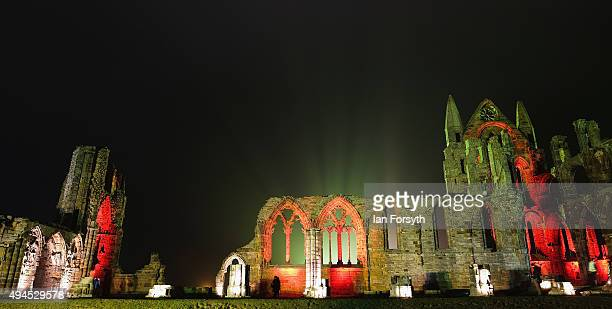A spectacular light display illuminates the historic Whitby Abbey on October 27 2015 in Whitby England The famous Benedictine abbey will be...