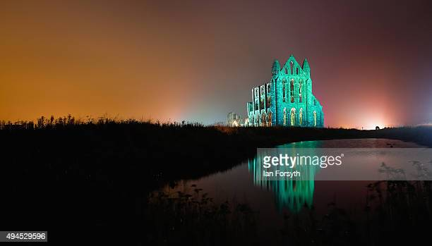 Spectacular light display illuminates the historic Whitby Abbey on October 27, 2015 in Whitby, England. The famous Benedictine abbey will be...
