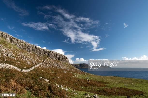 Spectacular mountain and rocky along the coastline, Neist Point, Glendale, Isle of Skye, Scotland