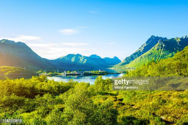 spectacular mountain scenery of lofoten islands, norway - valley stock pictures, royalty-free photos & images
