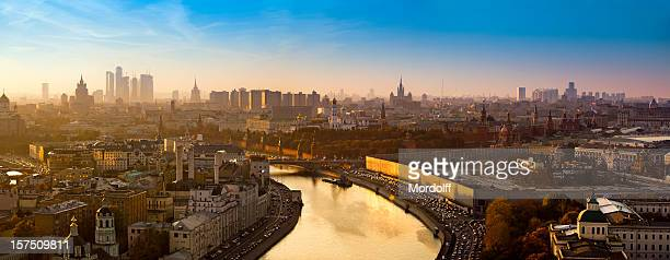 spectacular panorama of moscow city with golden river at sunset - moscow russia stock pictures, royalty-free photos & images