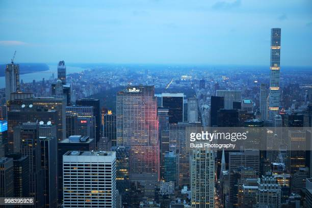 Spectacular panoramic view of Manhattan at twilight: Rockefeller Center, 432 Park Avenue. New York City, USA