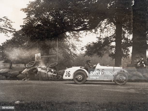 Spectacular race car accident at the Grand Prix of Ireland An Austin Sevenrace car is turning over at a turn in Phoenix park Dublin Photography 1931...