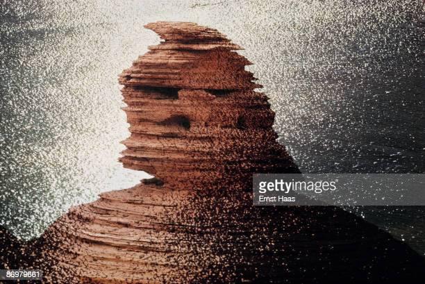 A spectacular rock formation by the Colorado River as it runs through the Grand Canyon Arizona USA circa 1970