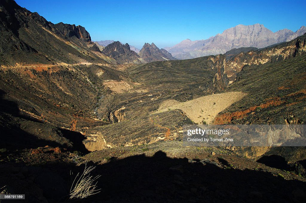 Spectacular scenery of Hajar mountains : Stock Photo
