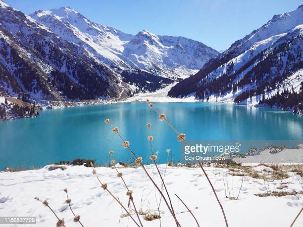 "spectacular scenic big almaty lake ,tien shan mountains in almaty, kazakhstan during late autumn, winter."" - kazakhstan stock pictures, royalty-free photos & images"