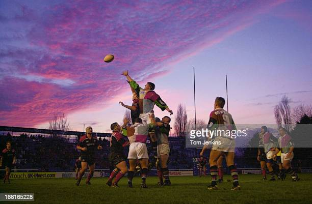A spectacular sunset above a lineout during the Zurich Premiership rugby union match Harlequins v Saracens at The Stoop Memorial Ground on December...