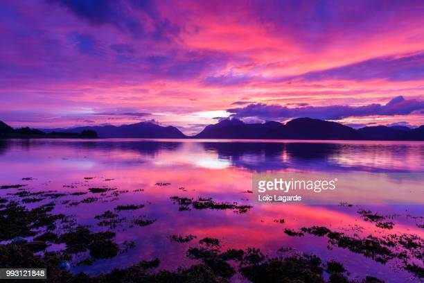 spectacular sunset on loch linnhe in ketallen - lagarde stock pictures, royalty-free photos & images