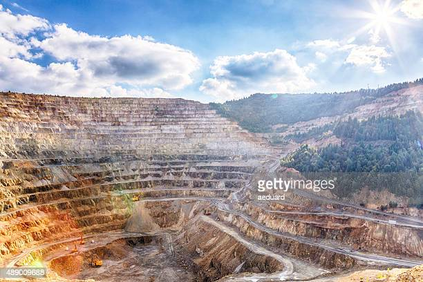 spectacular view of an open-pit mine - gruva bildbanksfoton och bilder