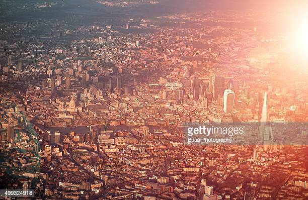 Spectacular view of London from aircraft at sunset