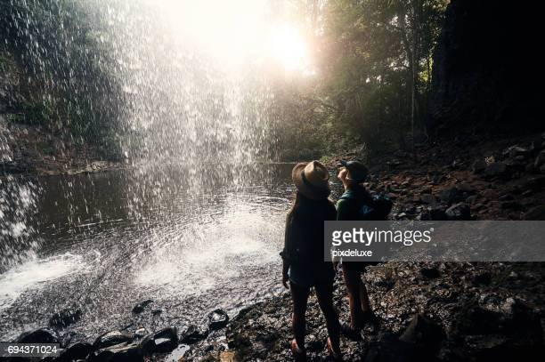 spectacular views make speechless moments - behind waterfall stock pictures, royalty-free photos & images