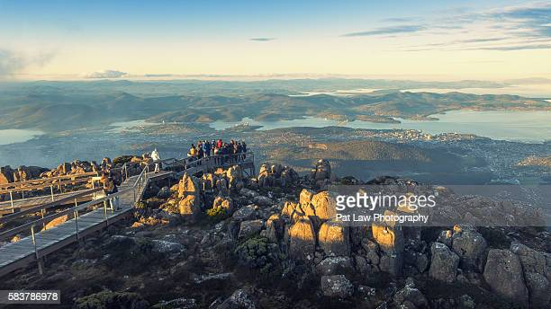 spectacular views of hobart city from mount wellington. - hobart tasmania stock pictures, royalty-free photos & images