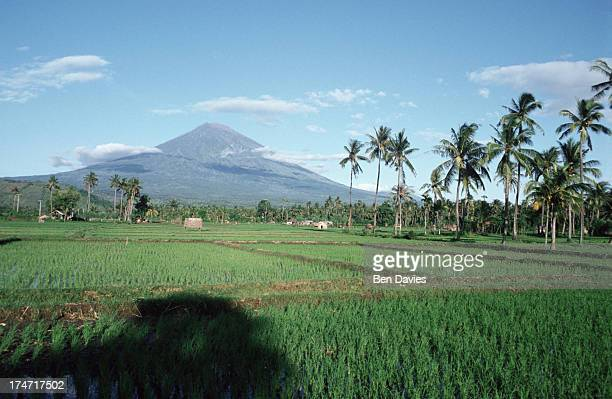 Spectacular views of Mount Agung an active volcano which dominates this coastal region of Bali in Indonesia Gunung Agung erupted in 1963 killing...