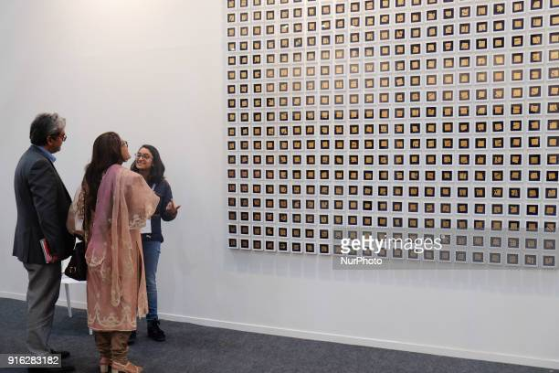 Spectaors enjoy art installations at the India Art Fair 2018 held on the Okhla NSIC grounds in New Delhi on February 9th, 2018. The annual fair draws...
