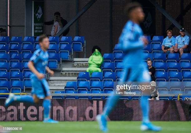 A spectator dressed as an alien watching the action during the Danish 3F Superliga match between Randers FC and FC Nordsjalland at Cepheus Park on...