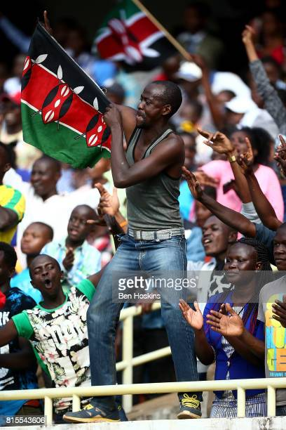 A spectator enjoys the atmosphere on day five of the IAAF U18 World Championships at The Kasarani Stadium on July 16 2017 in Nairobi Kenya