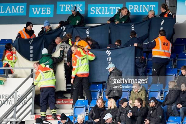 A spectator got cardiac arrest during the Danish Alka Superliga match between Randers FC and Lyngby BK at BioNutria Park Randers on April 01 2018 in...