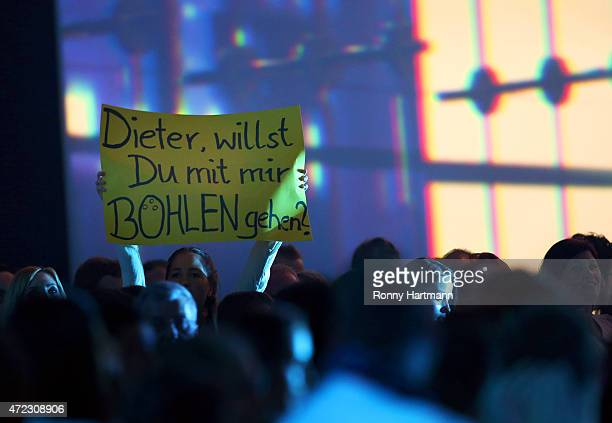 A spectator hold up a banner during the 'Deutschland sucht den Superstar' show from Leipzig on May 5 2015 in Leipzig Germany
