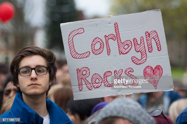 A spectator holds a sign that reads 'Jeremy Rocks' during a rally in Whitchurch in the Cardiff North constituency on April 21 2017 in Cardiff Wales...