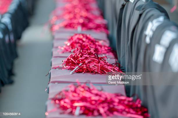 Spectator pom poms lie on stadium seats prior to an NCAA Pac12 college football game between the Utah Utes and the Stanford Cardinal on October 6...
