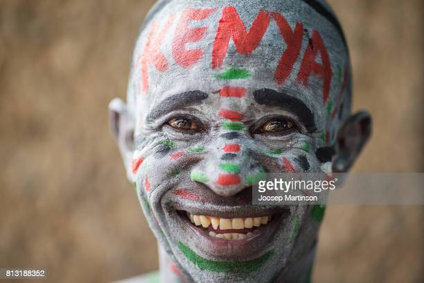 A spectator poses for a photo during day 1 of the IAAF U18 World Championships at Moi International Sports Centre Kasarani Arena on July 12 2017 in...