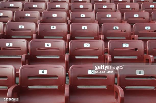 spectator seating in an sports arena - empty bleachers stockfoto's en -beelden