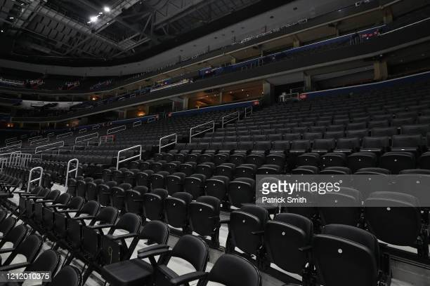 Spectator seating is empty prior to the Detroit Red Wings playing against the Washington Capitals at Capital One Arena on March 12 2020 in Washington...